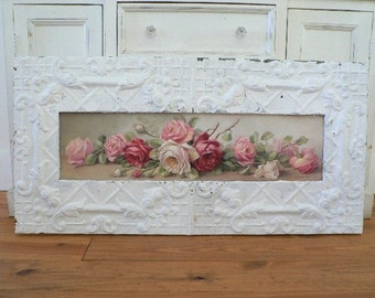 Antique Ceiling Tin Framed Yardlong C REPASY Shabby Roses