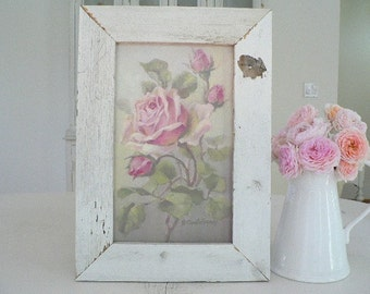SALE! REPASY pink Roses Print in Shabby old SALVAGED wood frame