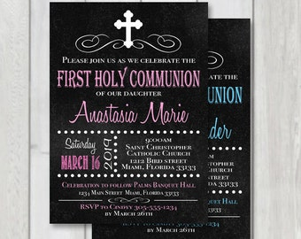 First Holy Communion Chalkboard Invitation, 1st communion printable invite, first holy communion invite, Confirmation, Pink & Blue invite