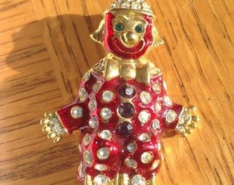 Rhinestone enameled clown brooch  VJSE