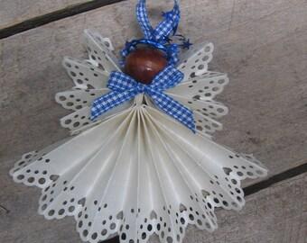 "White Christmas Angel, Tree Ornament, White Angel Ornament, Secret Santa, Angel Collector, Paper Angel, 4 1/2"" Angel SnowNoseCrafts"