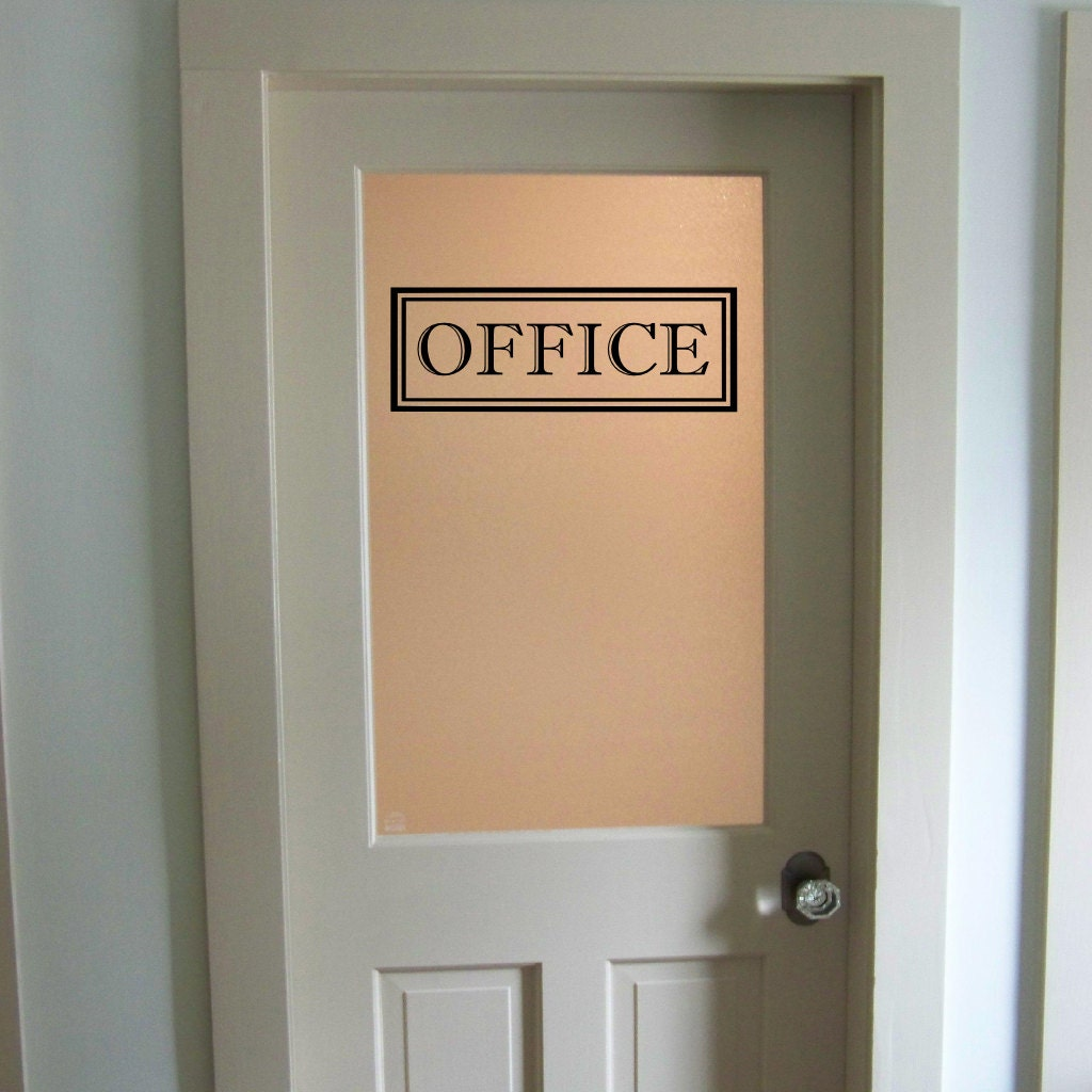 Office vinyl decal office glass door decal wall words vinyl for Door vinyl design