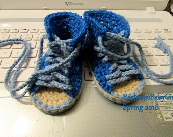 NEW - Buggs - Crochet Baby Hi Top Sneaker Sandal in Bright Blue - Customize Your Colors