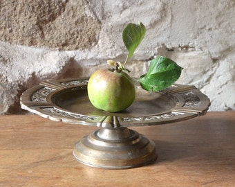 French metal cake stand footed fruit bowl brass effect shabby tarnished