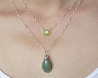 Gift Necklace Green Jade Teardrop Layering Necklace Set Stone Sterling Silver Hand Wrapped Candy Jade Light Green Dark Green Assorted Colors