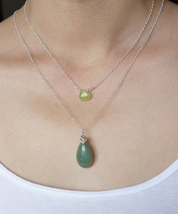 Green Jade Teardrop Layering Necklace Set Stone Sterling Silver Hand Wrapped Candy Jade Light Green Dark Green Assorted Colors Options