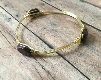 Gorgeous brown wire wrapped bangle