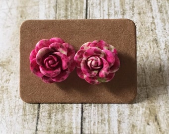 Pink dapple rose studs