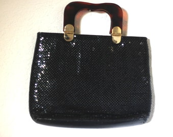 70s 80s Black Bag Metal Mesh Handbag