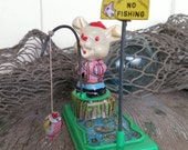 Vintage Tin Toy Windup Rabbit Fishing Fish Swings Around No Fishing Sign Marked YONE Made in Japan
