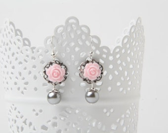 Pink and Grey Bridesmaid earrings, pink and grey wedding jewelry, pink rose earrings, vintage wedding, bridesmaid gift, garden wedding, rose