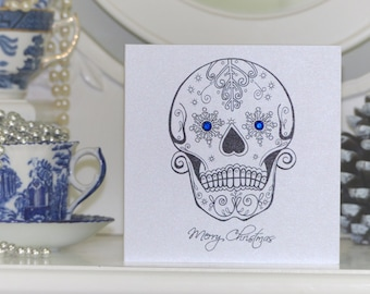 Snowflake Sugar Skull Tattoo Alternative Christmas Card