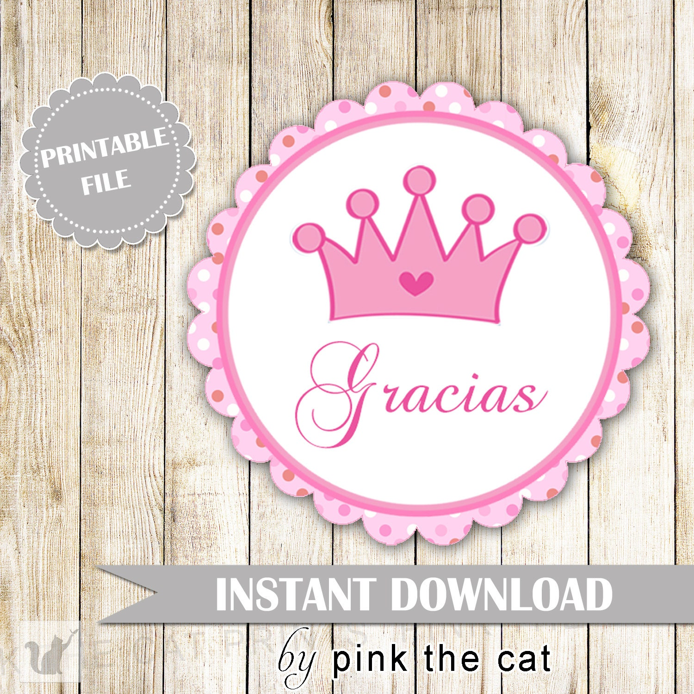 Etiquetas Con Diseño De Princesa Con Corona En Rosa Gracias