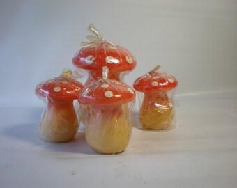 Vintage Set of 4 NOS Mushroom Candles