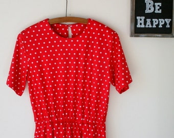1980s RED POLKA DOTS Dress.....size medium to large....mod. red. polka dots. 1980s dress. retro. bright red lipstick. classic. i love lucy