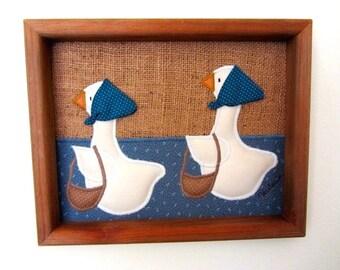 Vintage folk art, Shopping Geese, Appliqué  Folk Art, Framed appliqué geese, Vintage kitchen, country kitchen decor, farmhouse kitchen