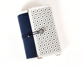 Navy White Laser cut pleather felt ring binder agenda/ organiser/ day planner/ notebook/ planner cover