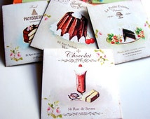 French Patisserie Note Card Set - Chocolate Cake Desserts Parfait Baking Bakery Bake Food Paris France Shabby - 4 Sm Square Greeting Cards