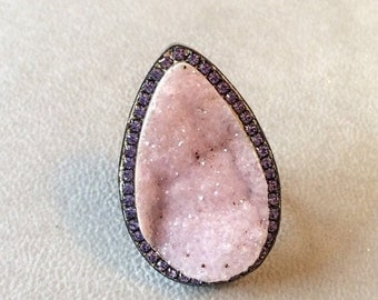FALL SALE Sparkling chalcedony natural druzy sterling silver ring