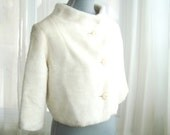 1960's Ivory Faux Fur Evening Jacket, Winter Wedding Bridal Coat, Size Small