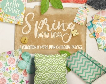 Spring Digital Papers - a collection of more than 100 papers, save HUGE!