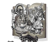 Alice in Wonderland  pop up altered  book card Black and white with stand DIY project cut and  assemble
