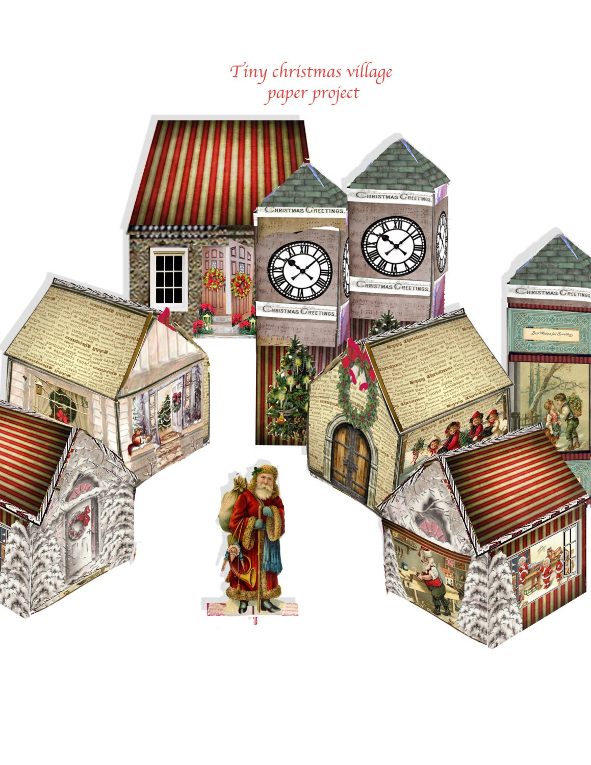 Printable christmas village victorian paper houses and clock for Stationary tiny houses for sale