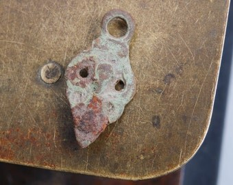 Antique metal charm, pendant, connector, finding, dark patina