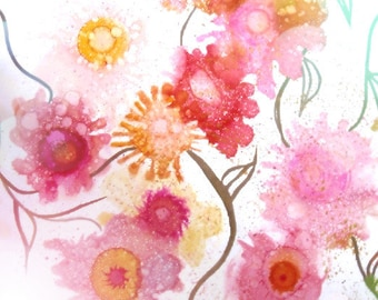 Spring Gift Idea, Pink Floral Print, Giclee Print, Whimsical Art Print, Modern Wall Art, Unique Ink Painting, Summer Trend, Teen Wall Decor