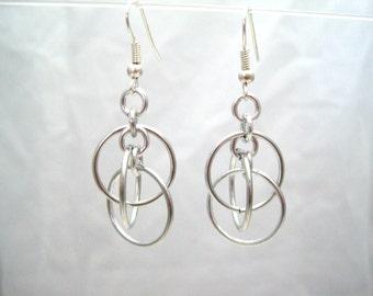 Illusion Hoops Chainmail Earrings - Silver Hoop Chainmaille Earrings