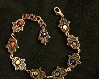 Hamsa Antique Copper Rainbow Chakra bracelet.
