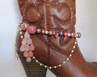 Shabby Chic and girly BOOT JEWELRY for wearing as dressy formal wear for your boots with pinks and beaded chain