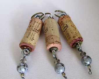 Group of three Wine Cork Key chain Party Favors women accessory Terra Blanca Wine Cork with Silver Floral Charms