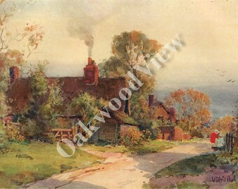 Welford-on-Avon Gloucestershire English Country Cottage Print by Wilfrid Ball, Antique 8x11 Color Bookplate Art, FREE Shipping