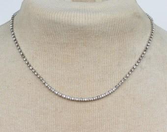 Vintage 1985 Signed Avon Brilliant Dazzler Silver Tone Clear Glass Crystal Rhinestone Bib Princess Length Necklace in Original Box NIB