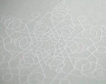 Glacial Blue Snowflake Letterpress Card – Hexagons