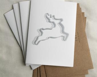 Four (4) Reindeer Cookie Cutter Letterpress Card