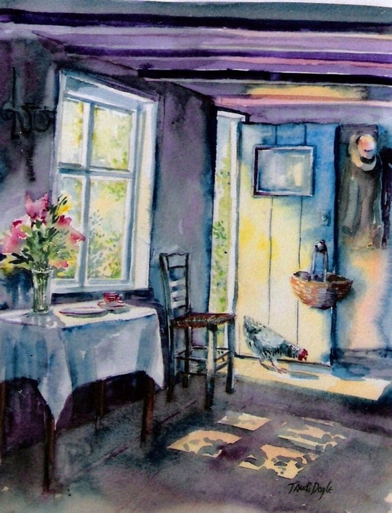 Summer Morning Visitor-    fine art watercolor print - choice of sizes