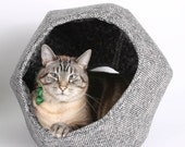 The Cat Ball in Grey Weave Fabric a Victorian Pet Bed for Goth Cats