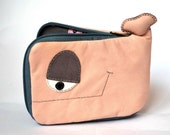 Powder pink Whale wallet,cats on rooftops inside,pink and grey