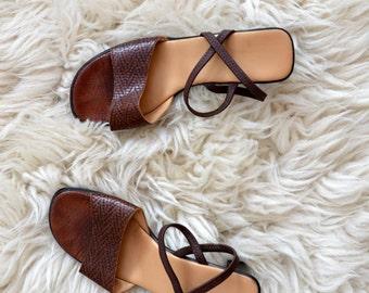 Heels Sandals Vintage Brown 1990s Summer Shoes Women Size US 8 EU 39