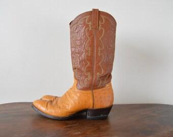 Western Boots // Tan Leather Vintage Tooled Cowboy Boots // Women Size US 9 D / EU 40