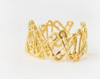 Adjustable Safety Pins Ring / safey pins band ring, gold, silver