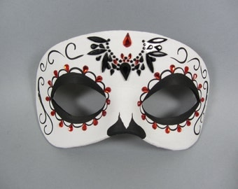 Day of the Dead Bat 2 Leather Mask, Unisex