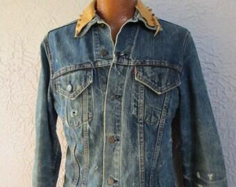 60's Vintage Levi's Denim Hippie Leather Patches jacket big e