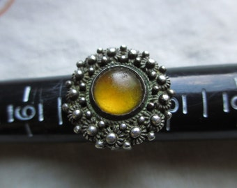 Vintage Antique Sterling Amber Ring size 8