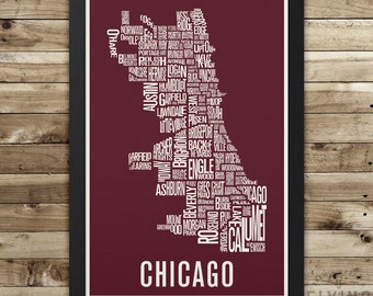 CHICAGO Neighborhood Map Print, chicago wall art, chicago typography map, chicago gift