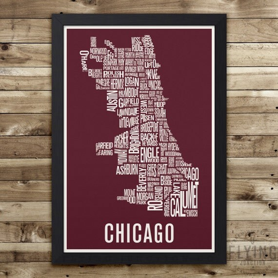 CHICAGO Neighborhood Map Print Chicago Wall Art Chicago