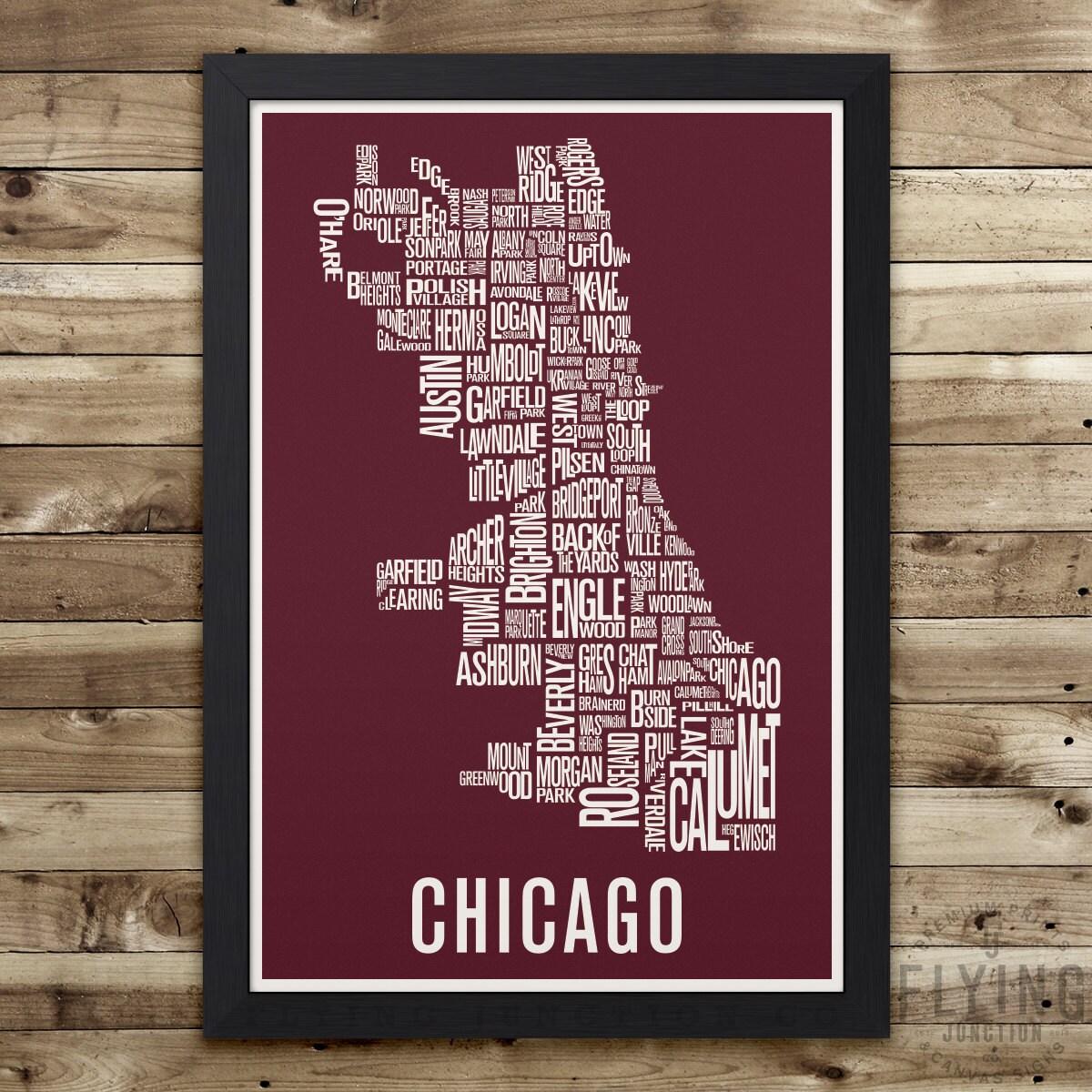 Chicago Wall Art chicago neighborhood map print chicago wall art chicago
