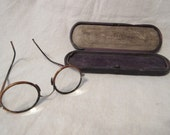 Vintage Round, Faux Tortoise Shell Eye Glasses & Case, Home Decor, Collectible
